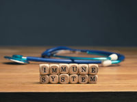 Small wooden blocks with the words immune system