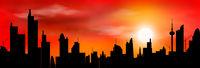 City line skyline sunset