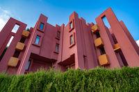 Red Walls of La Muralla Roja building in Calpe, Spain