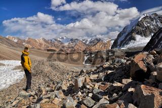 Hiker in Pamir mountains