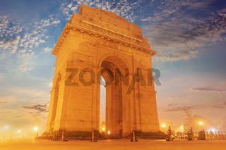 India Gate evening view, no people, New Delhi