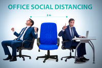 Office social distancing concept during coronavirus pandemic