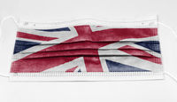 surgical mask with the national flag of England printed