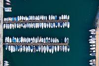 sailboats and yachts moored