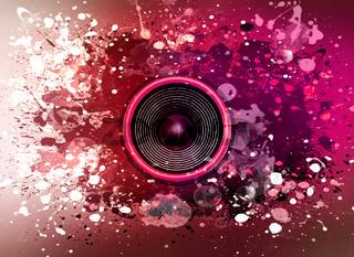 Music speaker and paint splatters