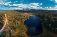 Aerial drone view of the lake of Kidelyu