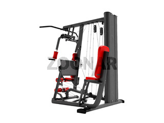 Modern red paired sports trainer with black inserts for power load of legs and hands 3d render on white background no shadow