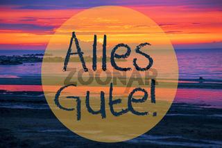 Sunset Or Sunrise At Sweden Ocean, Alles Gute Means Best Wishes