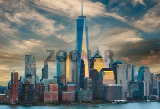 New York City Manhattan skyline at sunset