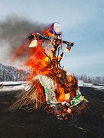 End of the winter.Big doll burning. Shrovetide