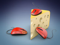 Three computer mice and cheese