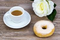 Glazed donut with espresso