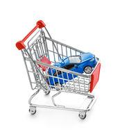 Toy car in shopping cart