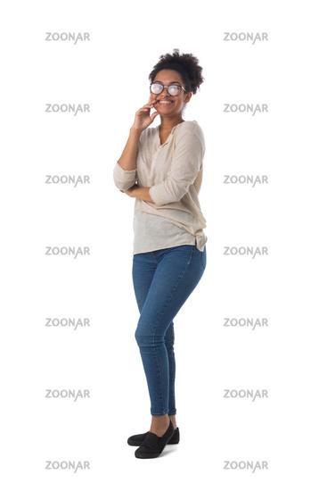 Full length woman portrait on white