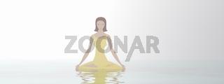 Woman meditation - 3D render