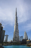 The Burj Khalifa skyscraper in Dubai, United Arab Emirates. Clear Sunny day March 13, 2020