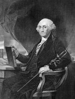 George Washington (1731-1799) on engraving from 1859. First President of the U.S.A. during 1789-1797  and commander of the Continental Army in the American Revolutionary War during 1775-1783. Considered as Father of his country. Engraved by unknown artist
