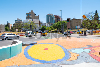 Cordoba Argentina traffic roundabout in Spain square colored pedestrian crossing