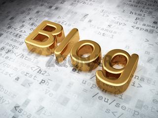 SEO web design concept: Golden Blog on digital background