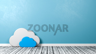 White Cloud Symbol Shape on Wooden Floor Against Blue Wall with Copyspace 3D Illustration