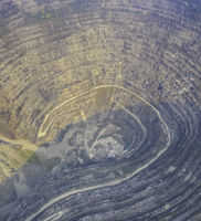aerial view of an iron ore pit