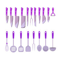 Set kitchen tools, flat style. cooking utensils , icons design element. isolated on white background. Vector illustration