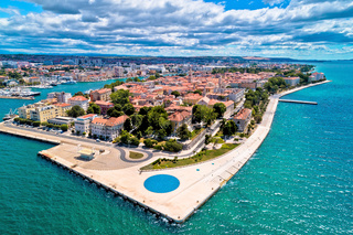 Zadar. Town of Zadar historic peninsula panoramic aerial view,