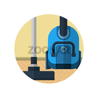 Flat icon for vacuum cleaner in room