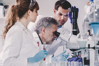 Health care researchers working in scientific laboratory.