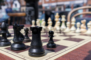 EAST GRINSTEAD, WEST SUSSEX/UK - JULY 3 : Chess Board in the Street Ready for a Game in East Grinstead on July 03, 2018