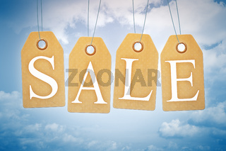 Sales tags in the blue sky