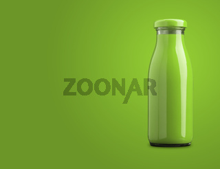 A bottle of green organic vegetable juice on a green background