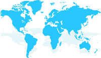 Blue similar world map blank for infographic isolated on white background. Vector illustration.