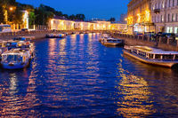 Night Saint Petersburg, boats, canal