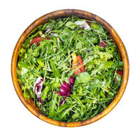 green salad from fresh greens and vegetables