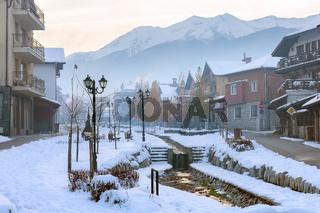 Bansko, Bulgaria street view and Pirin mountains