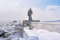 Der Leuchtturm von Sassnitz im Winter