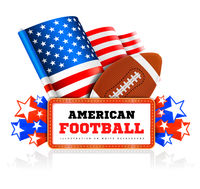 Marquee board announcement with amercain football ball and US flag on white. Vector