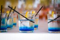 Row of blue drinks
