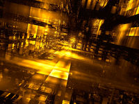 Abstract futuristic golden portal - digitally generated 3d illustration