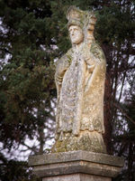 Waycross with statue of a bishop in woodland in Burgenland
