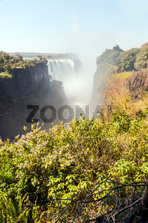 The falls are best seen from the Zimbabwe side of the border.