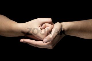 hands in mudra gesture