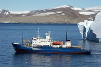 old Russian ship in the sea of Antarctic