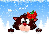 Cat portrait Christmas greeting card