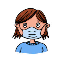 Girl or woman is wearing a mask because of Coronavirus-SARS-CoV-2 which causes Covid-19- hand-drawn vector illustration
