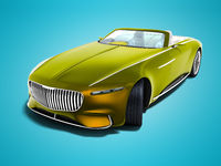 Modern yellow electric car convertible perspective view 3d render on blue background with shadow