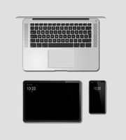 Laptop, tablet and phone set mockup isolated on grey. 3D render