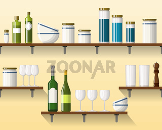 Kitchen shelving with tableware, seamless, part 4 of 4