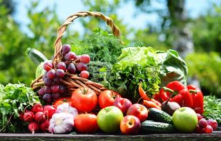 Variety of fresh organic vegetables in the garden.